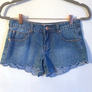 Cotton On Medium Wash Scalloped Hem Denim Shorts